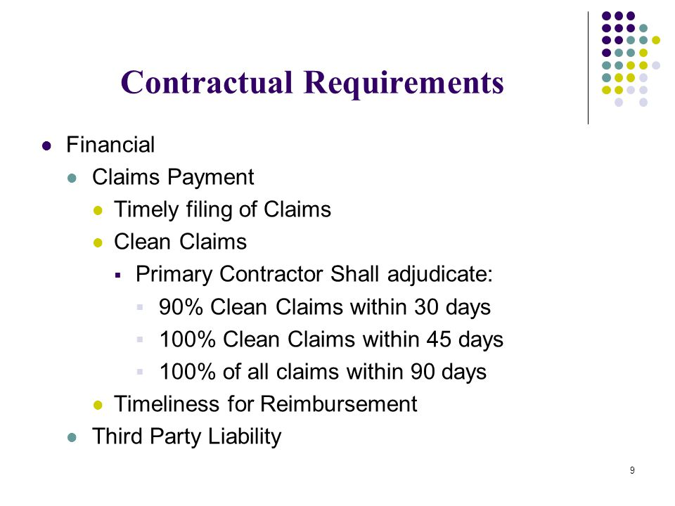 Contractual Requirements Financial Claims Payment Timely filing of Claims Clean Claims  Primary Contractor Shall adjudicate:  90% Clean Claims withi
