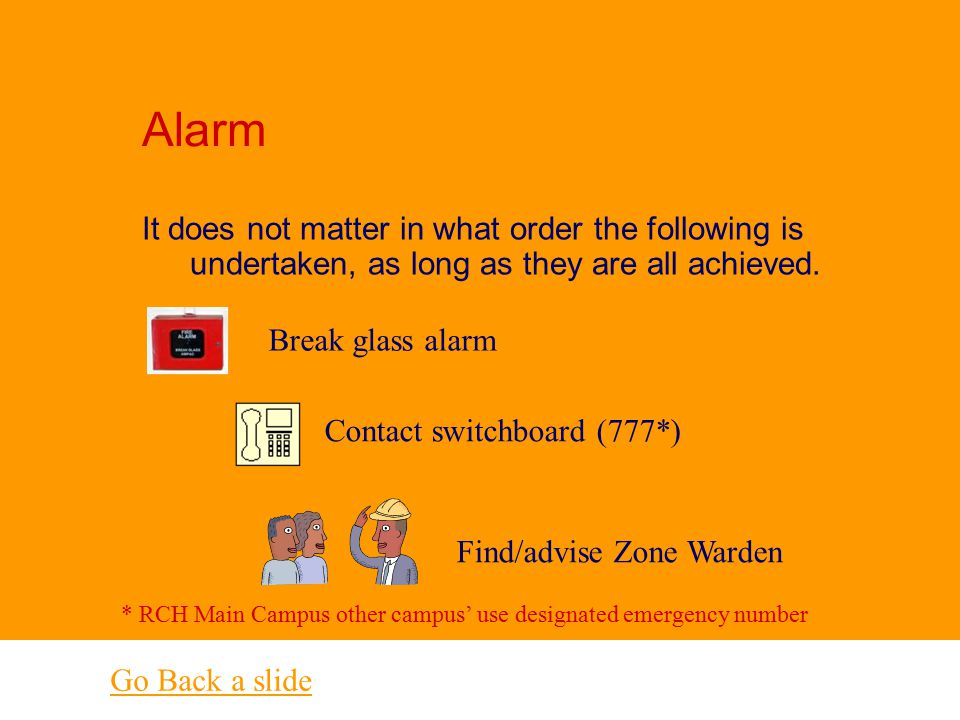 Help Question 15 R escue - any person in immediate danger. A larm – Raise the alarm and follow emergency procedures C ontain - close doors and windows