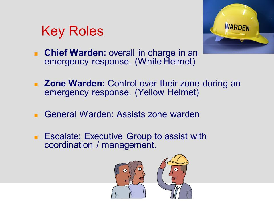 Response Group 1 Some of our RCH sites do not have RCH Zone Wardens. In this case the Chief Warden/Emergency Controller for the building takes control