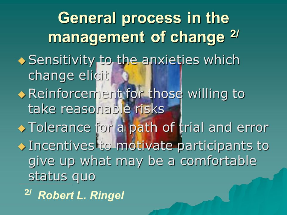 General process in the management of change 2/  Sensitivity to the anxieties which change elicit  Reinforcement for those willing to take reasonable risks  Tolerance for a path of trial and error  Incentives to motivate participants to give up what may be a comfortable status quo 2/ Robert L.