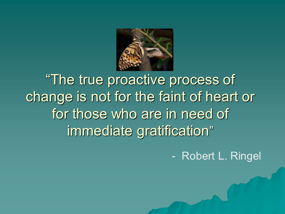 The true proactive process of change is not for the faint of heart or for those who are in need of immediate gratification - Robert L.