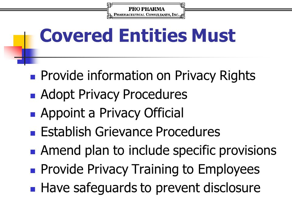 Covered Entities Must Provide information on Privacy Rights Adopt Privacy Procedures Appoint a Privacy Official Establish Grievance Procedures Amend p
