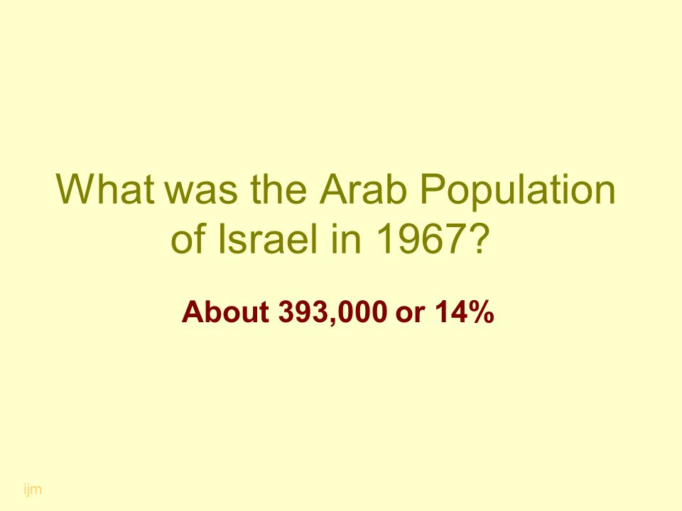 What was the Arab Population of Israel in 1967? About 393,000 or 14% ijm