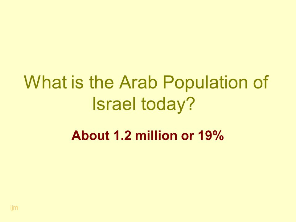 What is the Arab Population of Israel today? About 1.2 million or 19% ijm