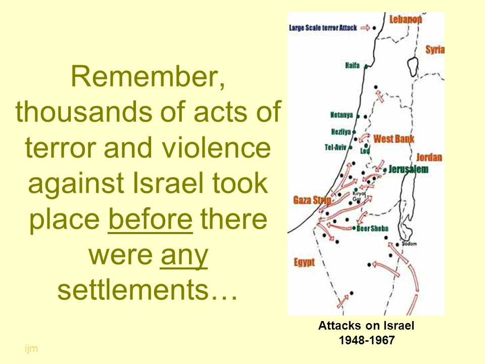 Remember, thousands of acts of terror and violence against Israel took place before there were any settlements… ijm Attacks on Israel 1948-1967