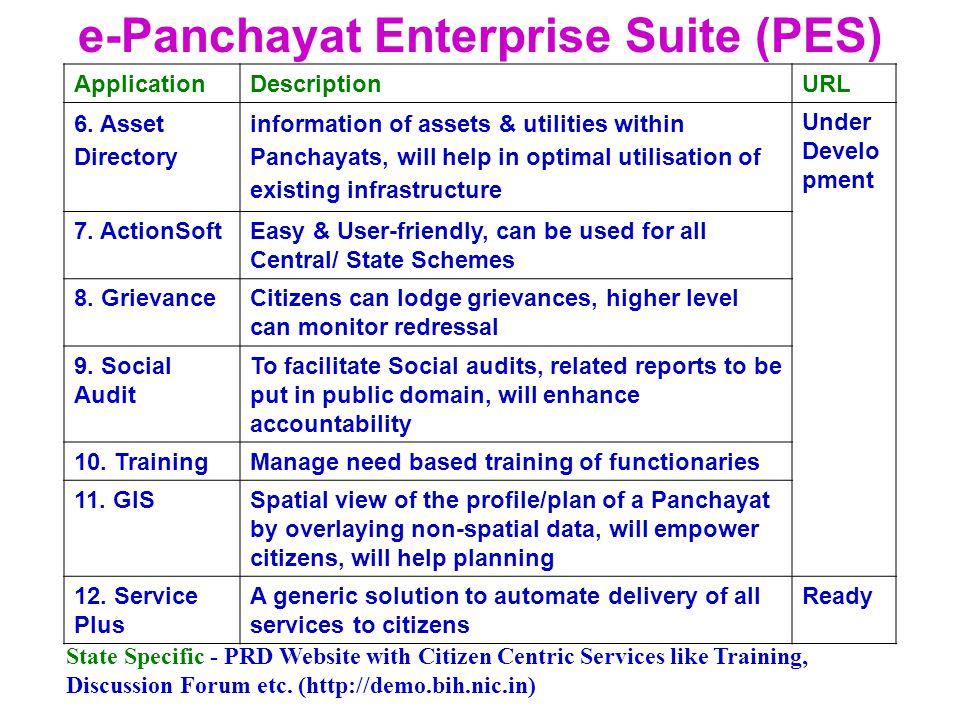 e-Panchayat Enterprise Suite (PES) ApplicationDescriptionURL 6.