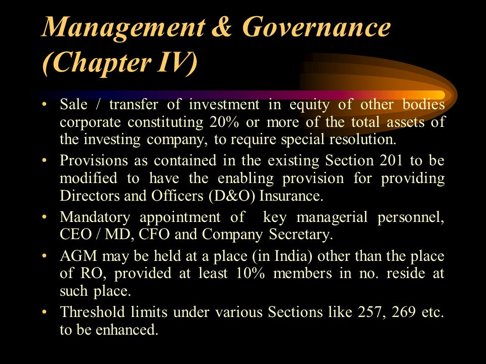 Management & Governance (Chapter IV) Sale / transfer of investment in equity of other bodies corporate constituting 20% or more of the total assets of