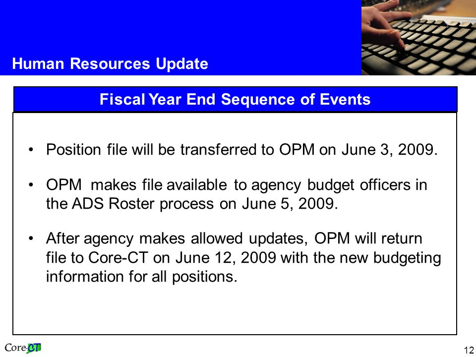 12 Human Resources Update Fiscal Year End Sequence of Events Position file will be transferred to OPM on June 3, 2009.
