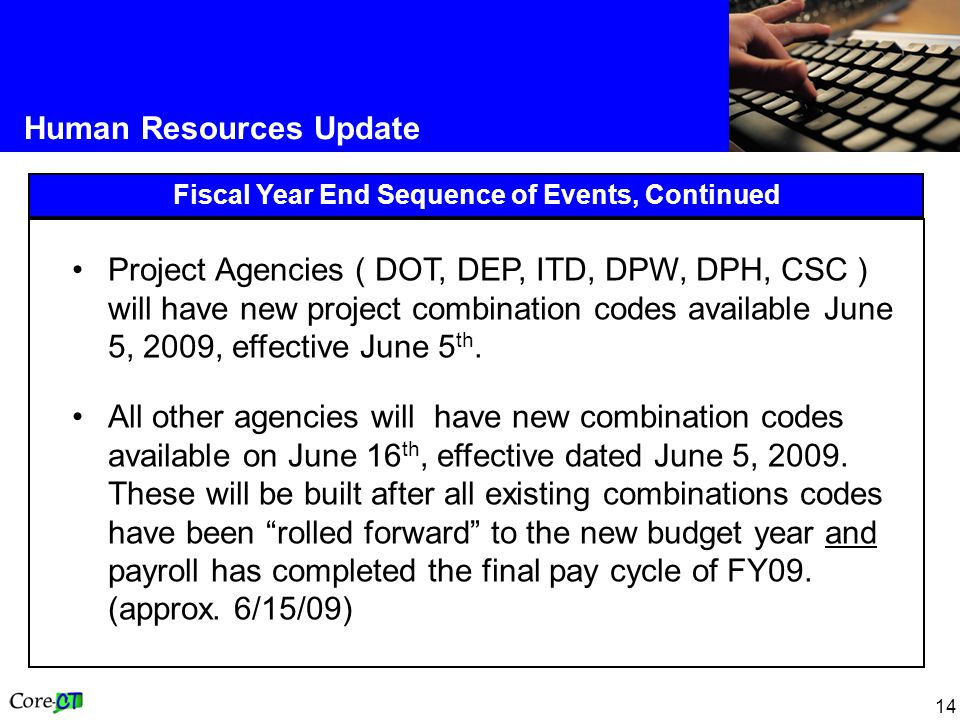 14 Human Resources Update Fiscal Year End Sequence of Events, Continued Project Agencies ( DOT, DEP, ITD, DPW, DPH, CSC ) will have new project combination codes available June 5, 2009, effective June 5 th.