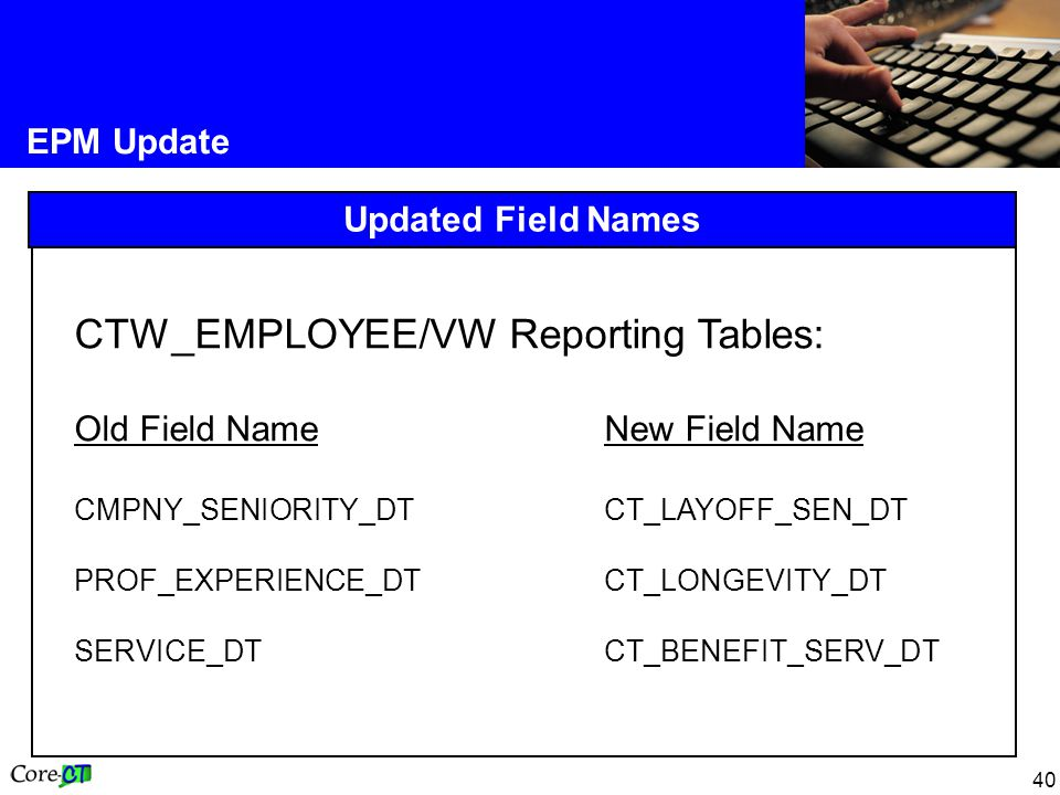 40 EPM Update Updated Field Names CTW_EMPLOYEE/VW Reporting Tables: Old Field NameNew Field Name CMPNY_SENIORITY_DT CT_LAYOFF_SEN_DT PROF_EXPERIENCE_DT CT_LONGEVITY_DT SERVICE_DT CT_BENEFIT_SERV_DT