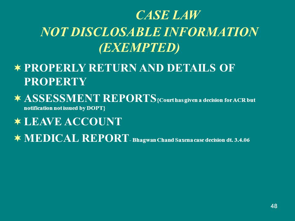 48  PROPERLY RETURN AND DETAILS OF PROPERTY  ASSESSMENT REPORTS {Court has given a decision for ACR but notification not issued by DOPT}  LEAVE ACC