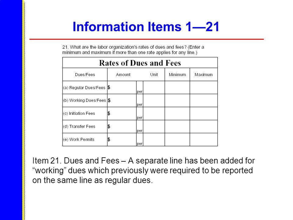 Information Items 1—21 Item 21.
