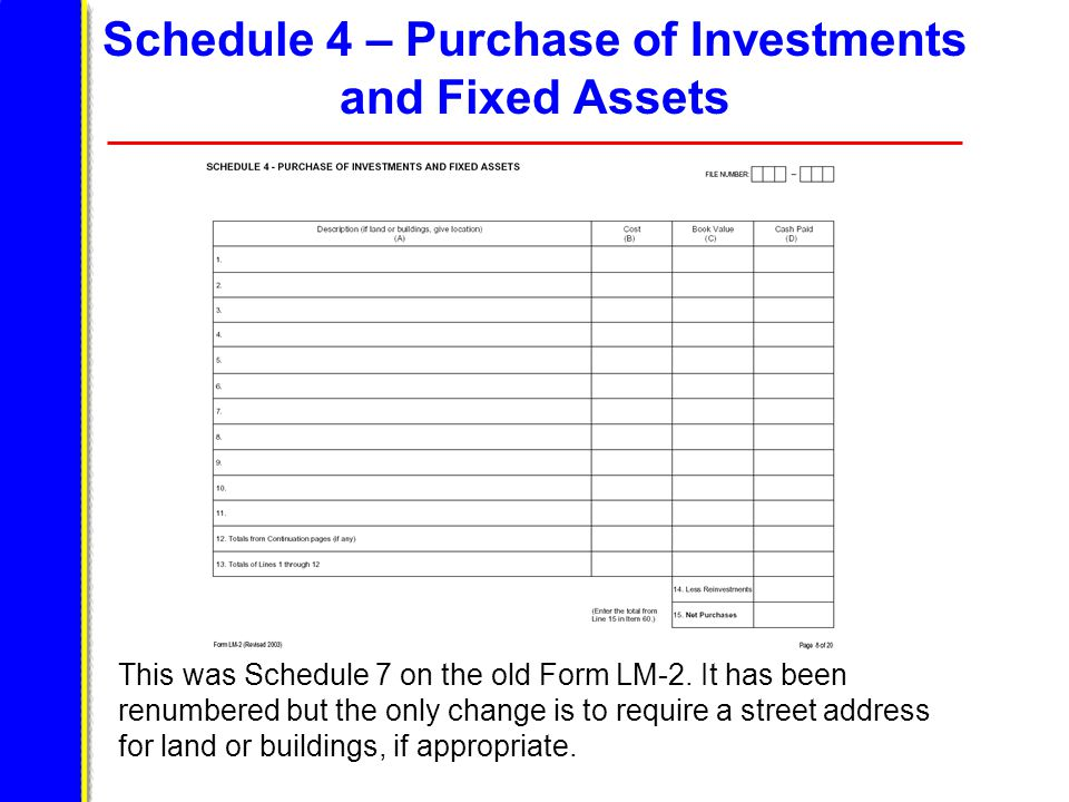 Schedule 4 – Purchase of Investments and Fixed Assets This was Schedule 7 on the old Form LM-2.