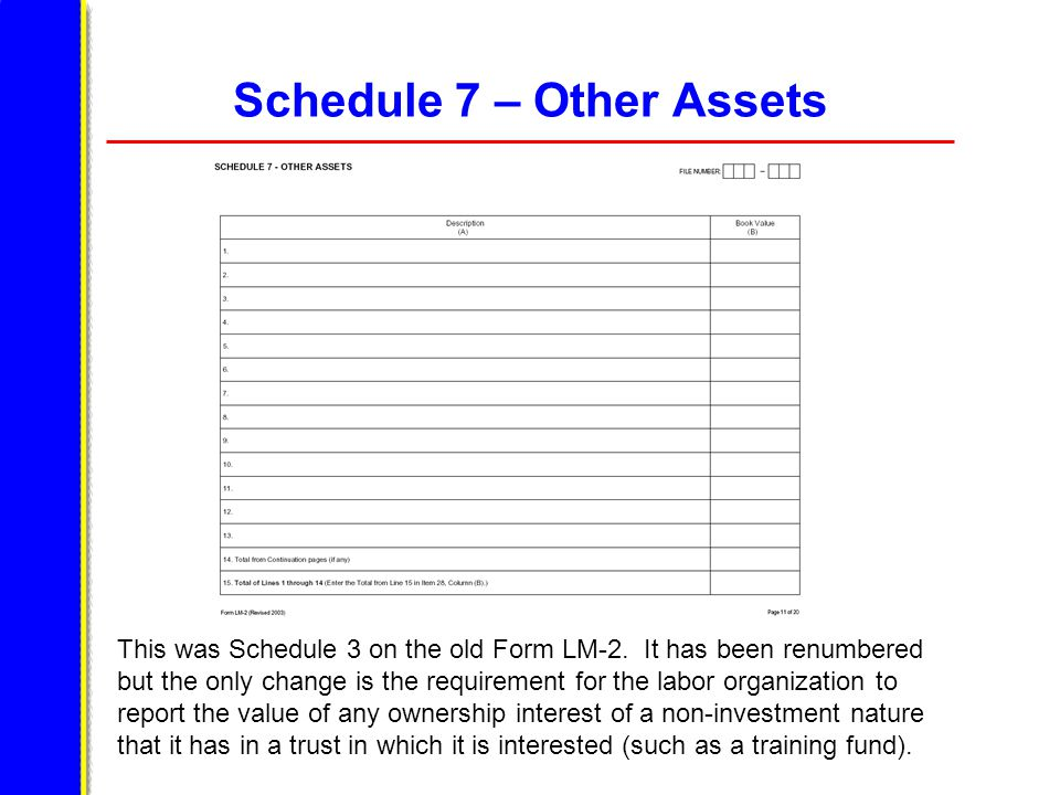 Schedule 7 – Other Assets This was Schedule 3 on the old Form LM-2.
