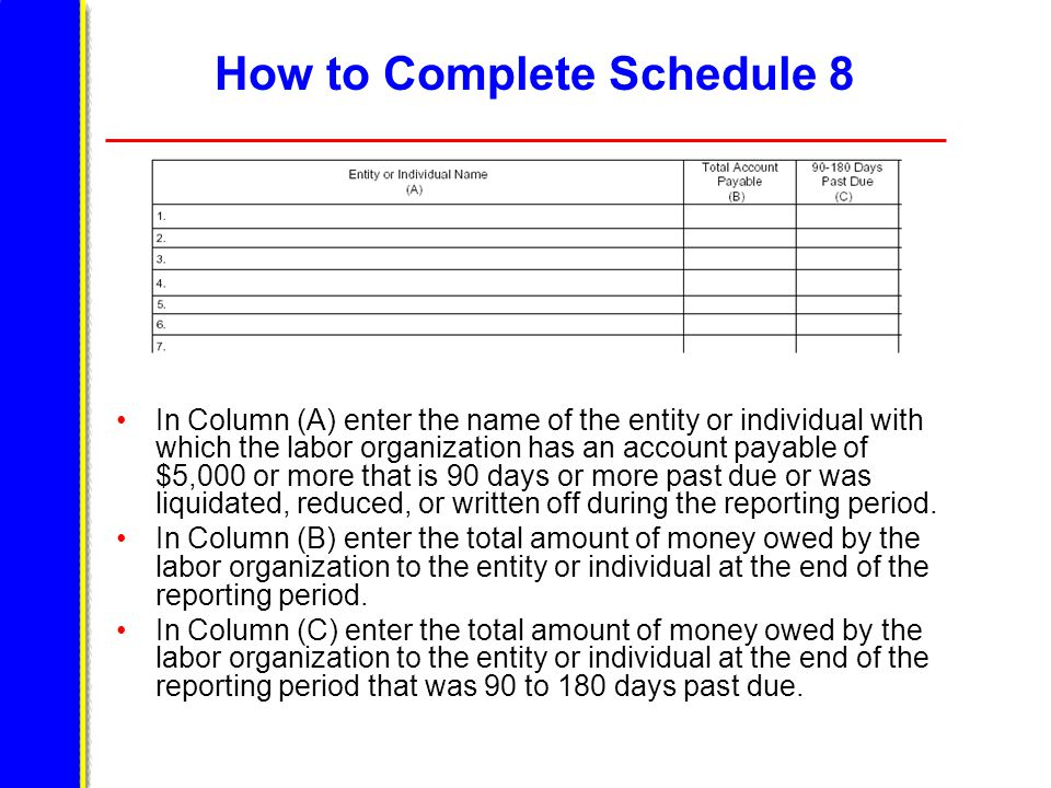 How to Complete Schedule 8 In Column (A) enter the name of the entity or individual with which the labor organization has an account payable of $5,000 or more that is 90 days or more past due or was liquidated, reduced, or written off during the reporting period.