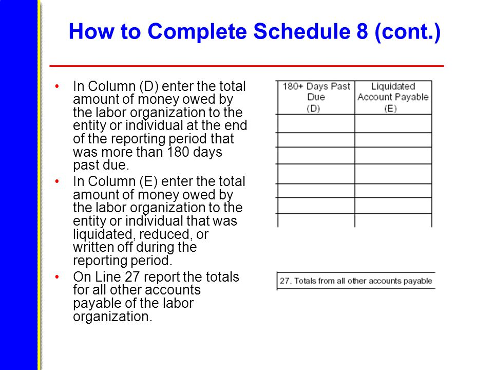 How to Complete Schedule 8 (cont.) In Column (D) enter the total amount of money owed by the labor organization to the entity or individual at the end of the reporting period that was more than 180 days past due.