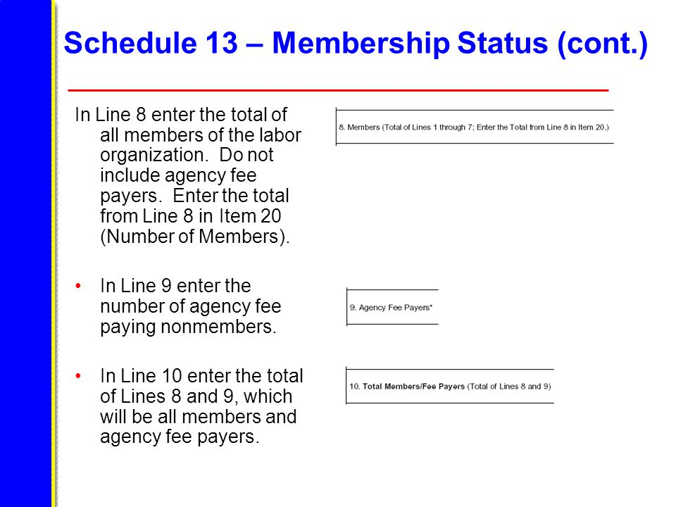 Schedule 13 – Membership Status (cont.) In Line 8 enter the total of all members of the labor organization.