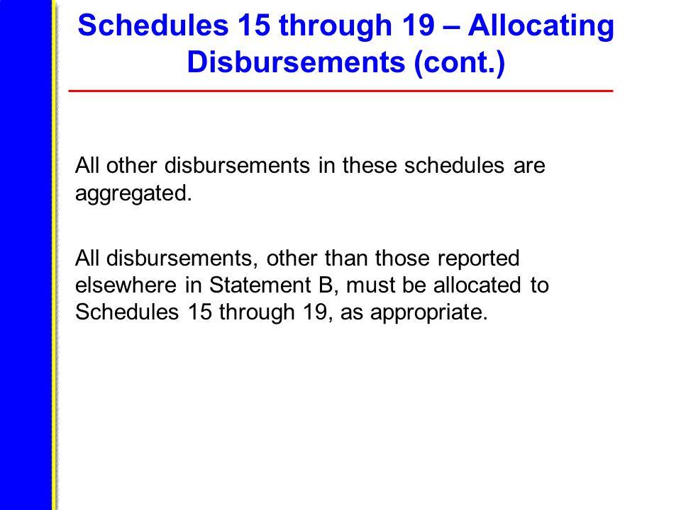 Schedules 15 through 19 – Allocating Disbursements (cont.) All other disbursements in these schedules are aggregated.