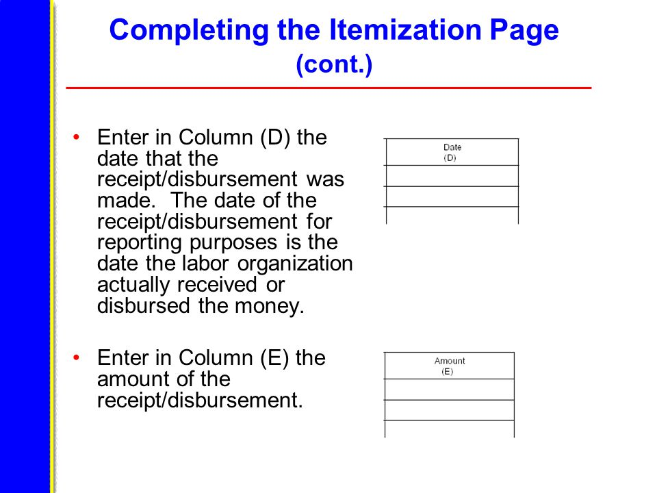 Completing the Itemization Page (cont.) Enter in Column (D) the date that the receipt/disbursement was made.