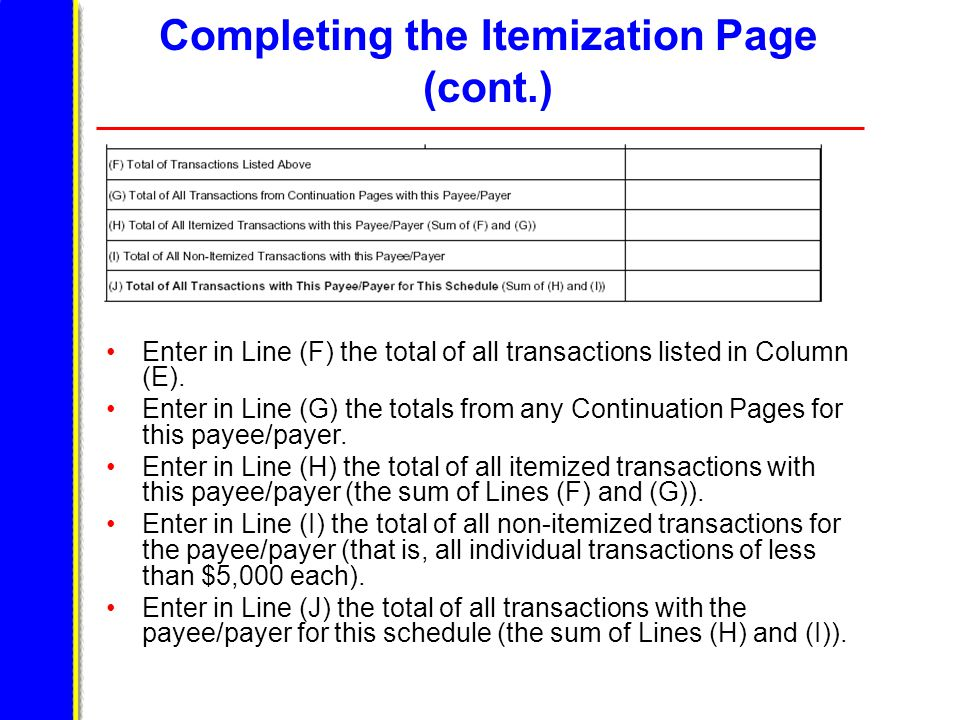 Completing the Itemization Page (cont.) Enter in Line (F) the total of all transactions listed in Column (E).
