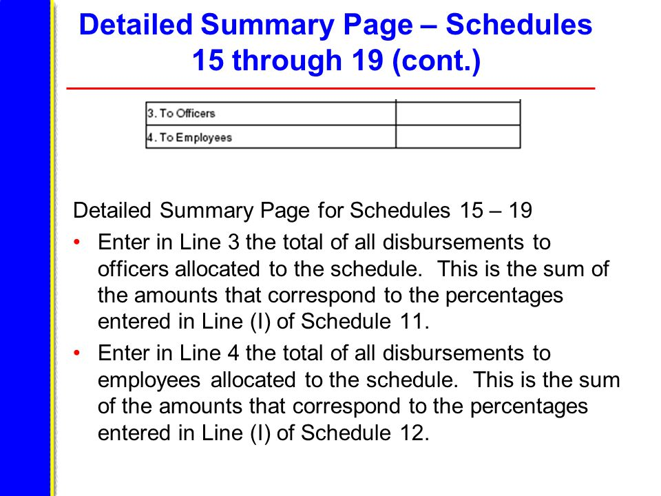 Detailed Summary Page – Schedules 15 through 19 (cont.) Detailed Summary Page for Schedules 15 – 19 Enter in Line 3 the total of all disbursements to officers allocated to the schedule.