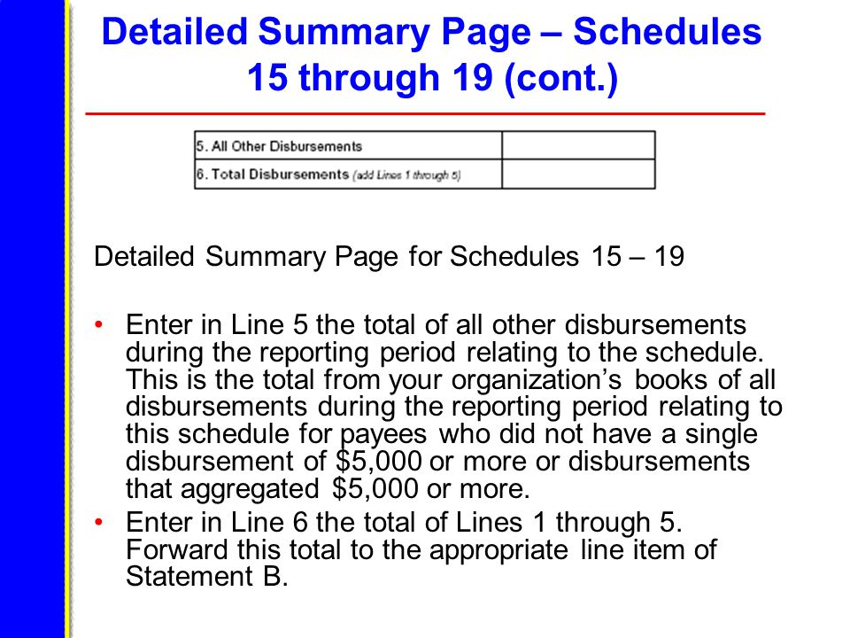 Detailed Summary Page – Schedules 15 through 19 (cont.) Detailed Summary Page for Schedules 15 – 19 Enter in Line 5 the total of all other disbursements during the reporting period relating to the schedule.