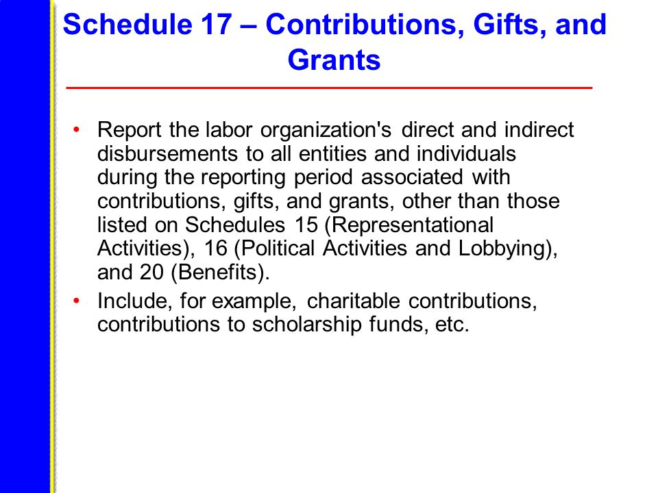 Schedule 17 – Contributions, Gifts, and Grants Report the labor organization s direct and indirect disbursements to all entities and individuals during the reporting period associated with contributions, gifts, and grants, other than those listed on Schedules 15 (Representational Activities), 16 (Political Activities and Lobbying), and 20 (Benefits).