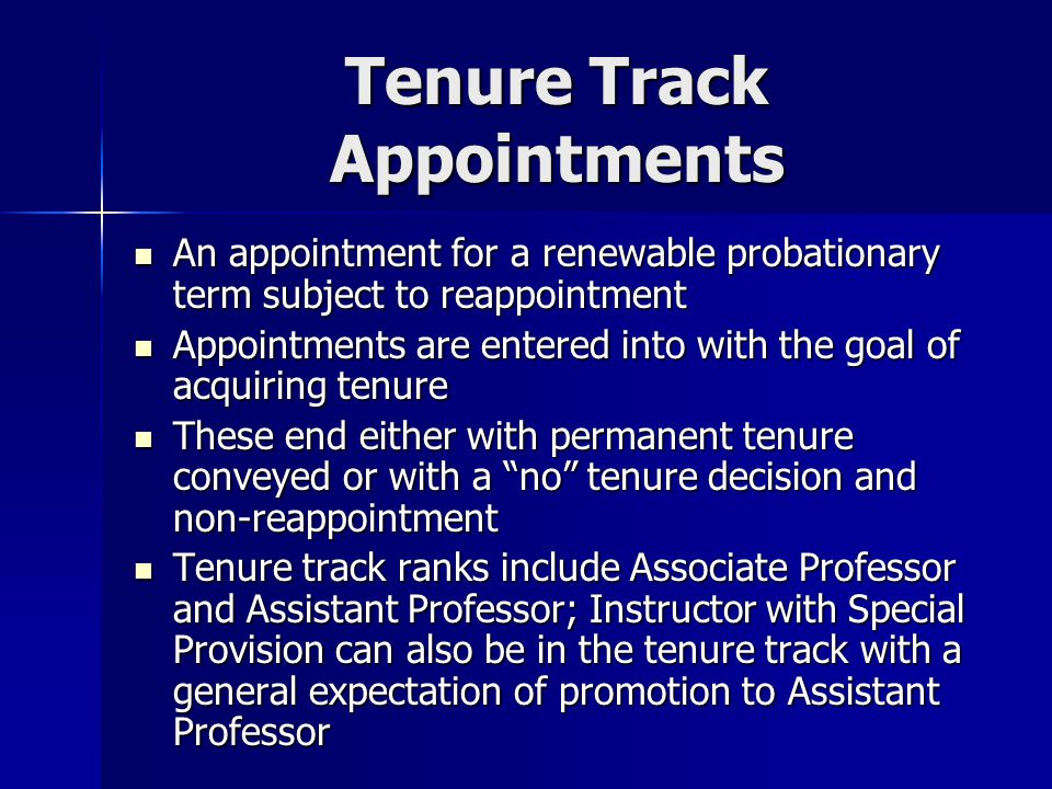Tenure Track Appointments Cont'd.Tenured vs. Non-Tenured Associate Professors Tenured vs.