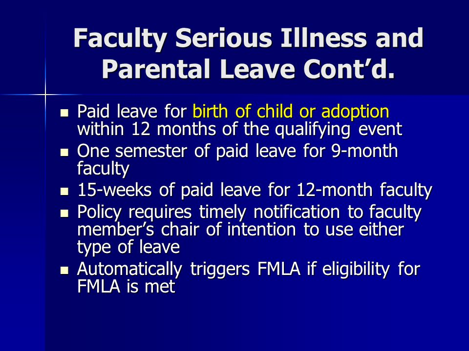 Other Leaves Relevant to Faculty Employees (Eligibility principally for permanent employees; check each policy on the OHR web site) Bonus Leave Bonus Leave –As awarded by the NC General Assembly Community Service Leave Community Service Leave –12-month faculty earn 24 hours per calendar year OR 1 hour per week (to a max of 36 hours) for a mentoring/tutoring program in a school Civil Leave (Jury Duty) Civil Leave (Jury Duty) Voluntary Shared Leave Voluntary Shared Leave Military Leave Military Leave