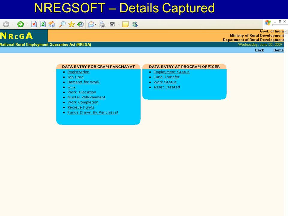 4/23/20156 NREGSOFT – Details Captured