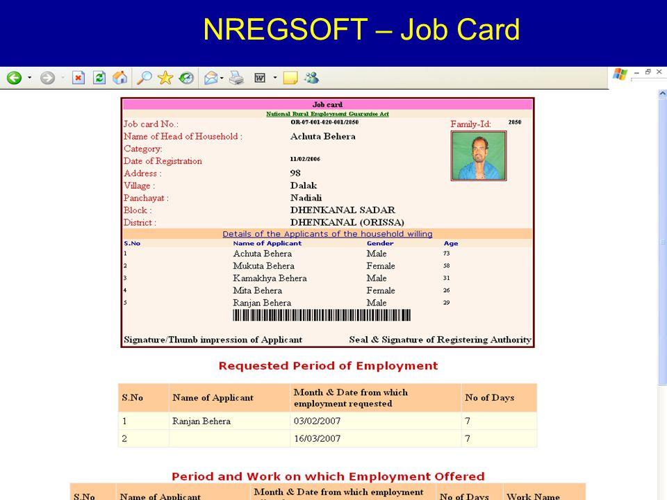 4/23/20158 NREGSOFT – Job Card