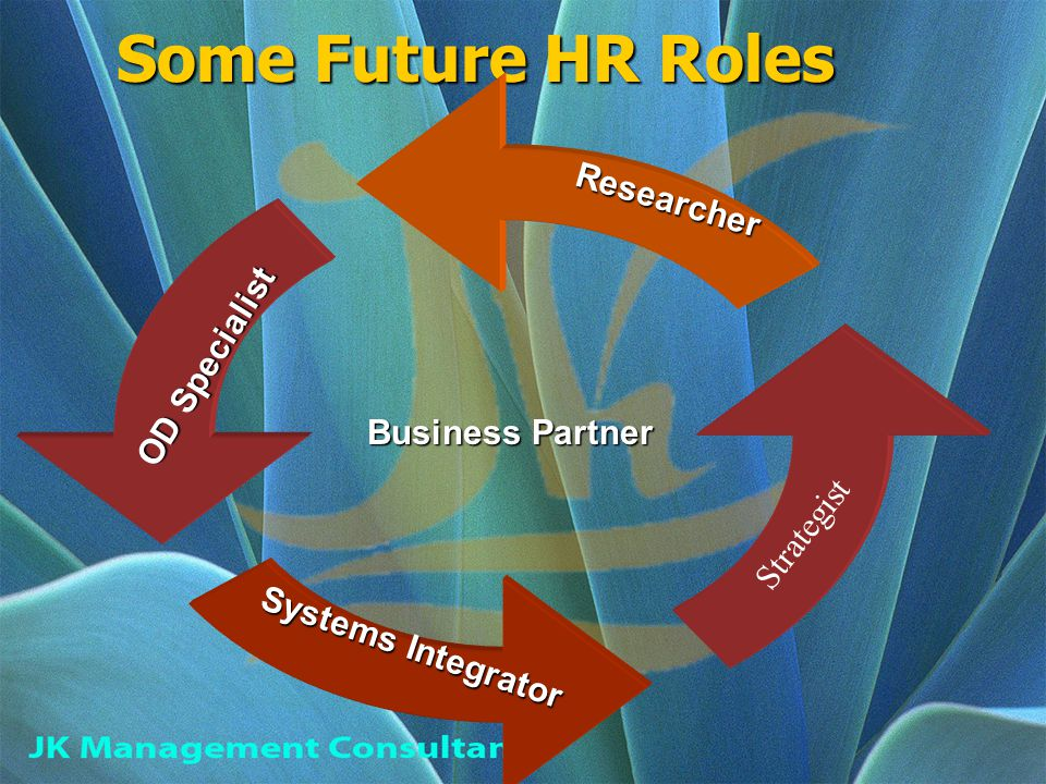 Some Future HR Roles Some Future HR Roles Business Partner Researcher OD Specialist Systems Integrator Strategist