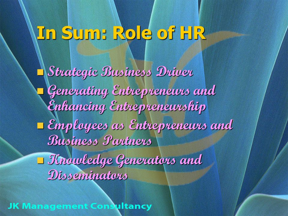 In Sum: Role of HR Strategic Business Driver Strategic Business Driver Generating Entrepreneurs and Enhancing Entrepreneurship Generating Entrepreneurs and Enhancing Entrepreneurship Employees as Entrepreneurs and Business Partners Employees as Entrepreneurs and Business Partners Knowledge Generators and Disseminators Knowledge Generators and Disseminators
