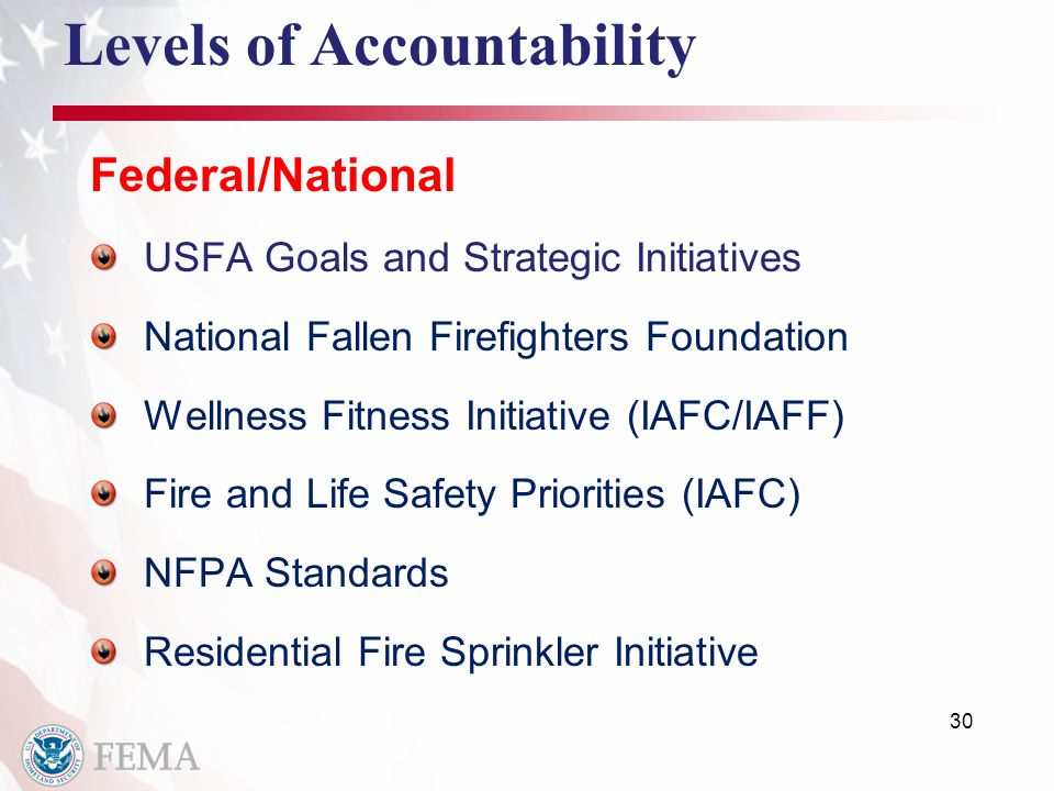 30 Levels of Accountability Federal/National USFA Goals and Strategic Initiatives National Fallen Firefighters Foundation Wellness Fitness Initiative (IAFC/IAFF) Fire and Life Safety Priorities (IAFC) NFPA Standards Residential Fire Sprinkler Initiative