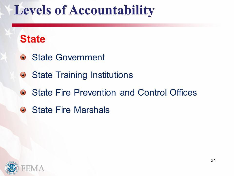 31 Levels of Accountability State State Government State Training Institutions State Fire Prevention and Control Offices State Fire Marshals