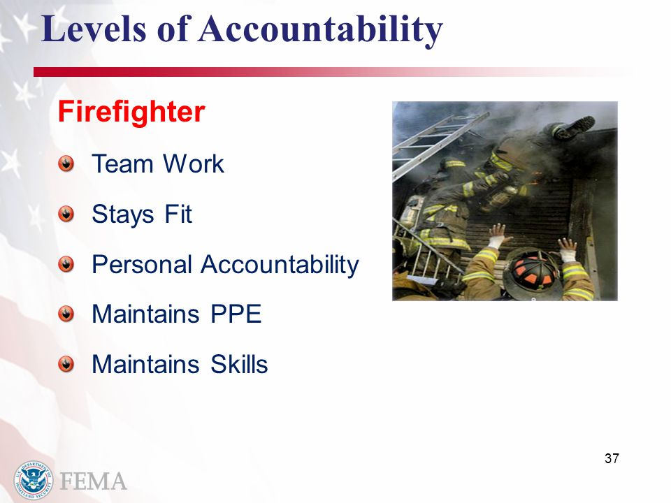 37 Levels of Accountability Firefighter Team Work Stays Fit Personal Accountability Maintains PPE Maintains Skills