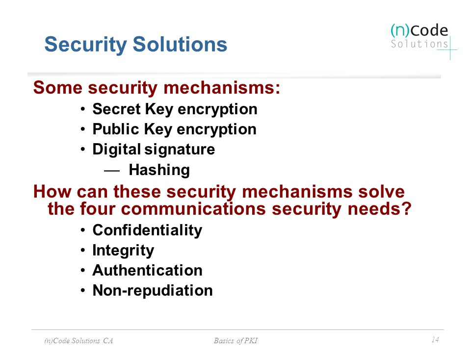 (n)Code Solutions CABasics of PKI 14 Security Solutions Some security mechanisms: Secret Key encryption Public Key encryption Digital signature — Hash