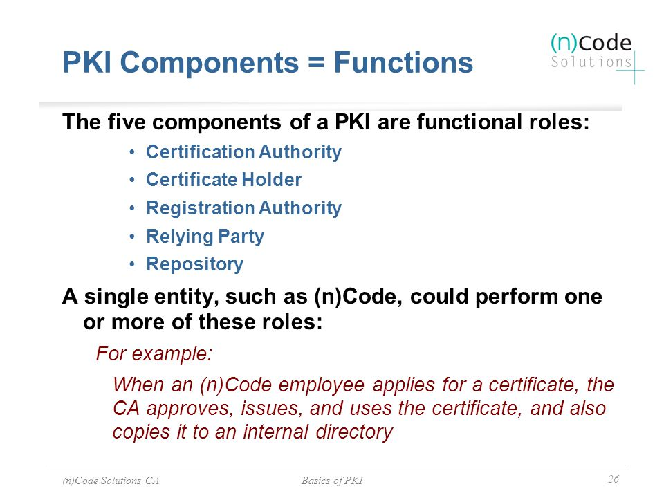 (n)Code Solutions CABasics of PKI 26 PKI Components = Functions The five components of a PKI are functional roles: Certification Authority Certificate