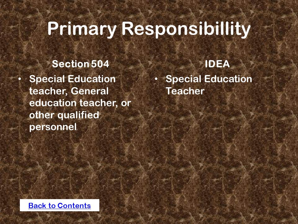 Primary Responsibillity Section 504 Special Education teacher, General education teacher, or other qualified personnel IDEA Special Education Teacher Back to Contents