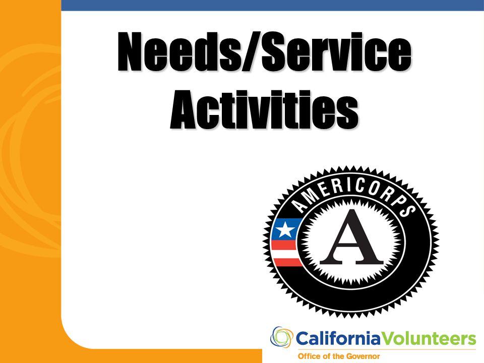 Needs/Service Activities