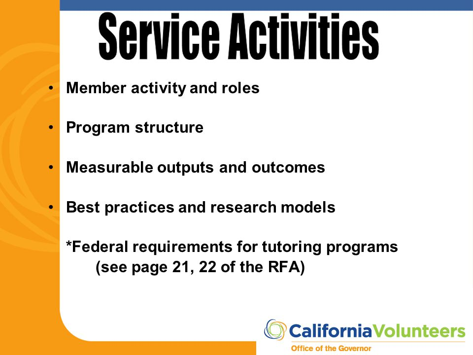 Member activity and roles Program structure Measurable outputs and outcomes Best practices and research models *Federal requirements for tutoring prog