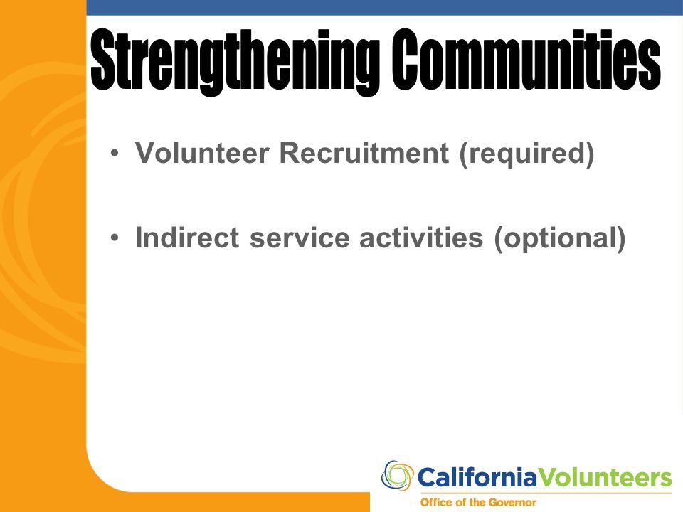 Volunteer Recruitment (required) Indirect service activities (optional)