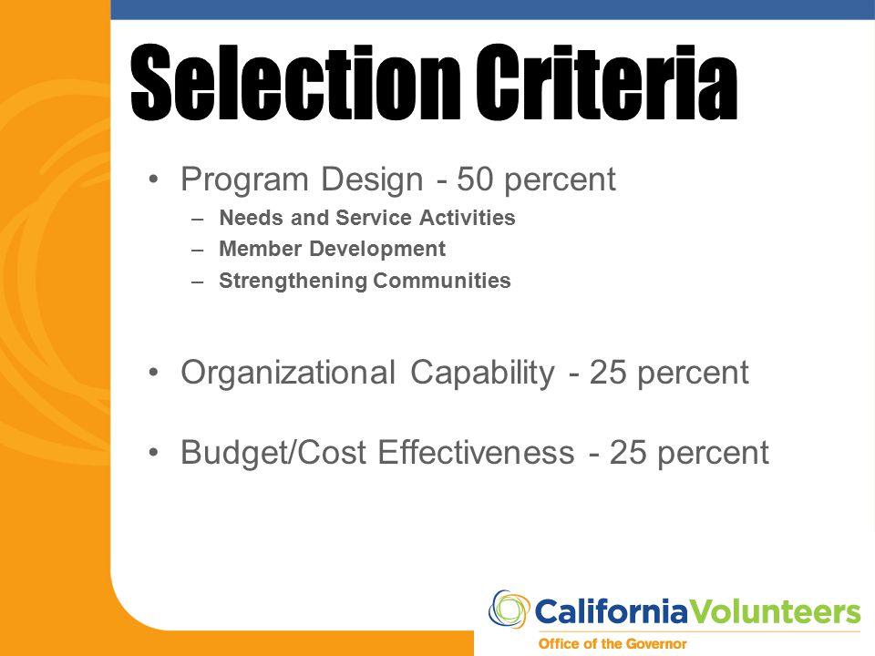 Program Design - 50 percent –Needs and Service Activities –Member Development –Strengthening Communities Organizational Capability - 25 percent Budget