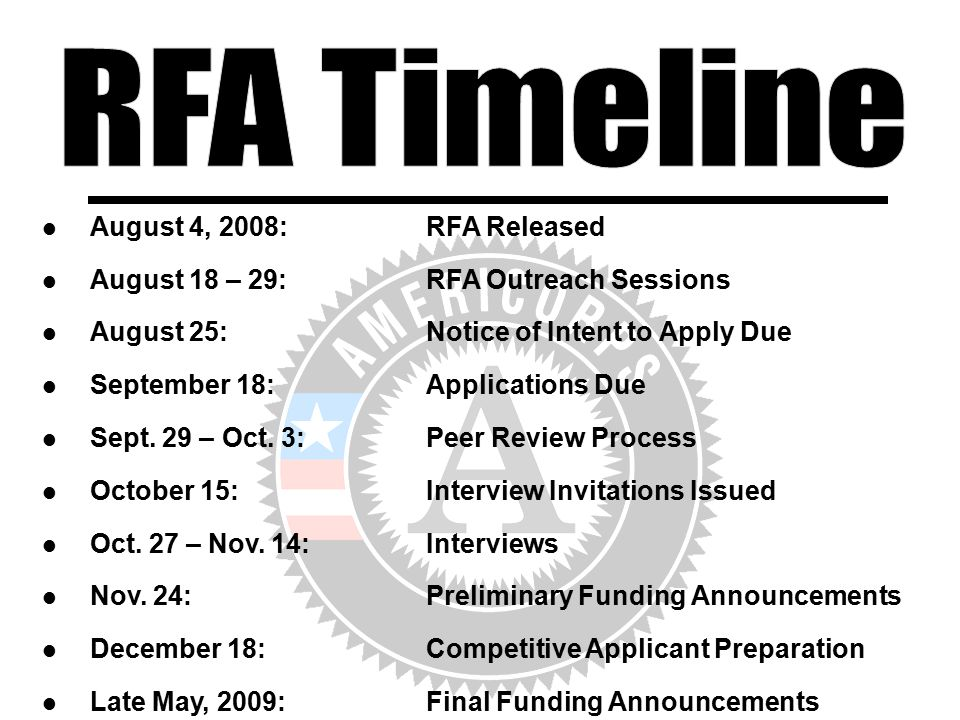 August 4, 2008:RFA Released August 18 – 29:RFA Outreach Sessions August 25:Notice of Intent to Apply Due September 18:Applications Due Sept. 29 – Oct.