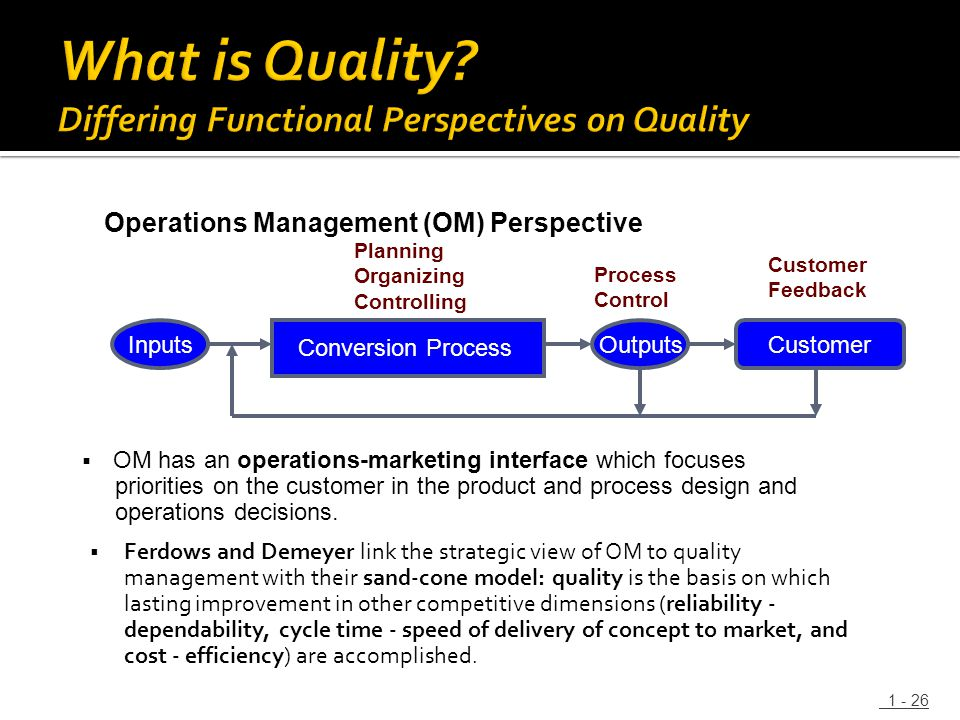  Ferdows and Demeyer link the strategic view of OM to quality management with their sand-cone model: quality is the basis on which lasting improvemen