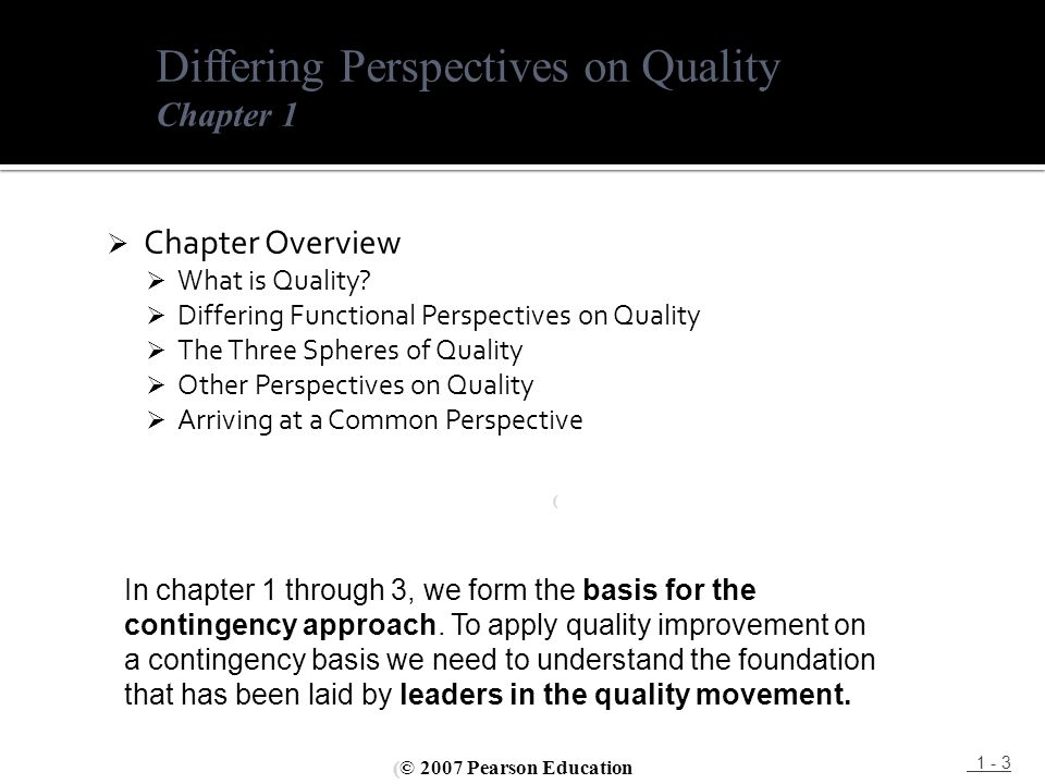  Chapter Overview  What is Quality?  Differing Functional Perspectives on Quality  The Three Spheres of Quality  Other Perspectives on Quality 
