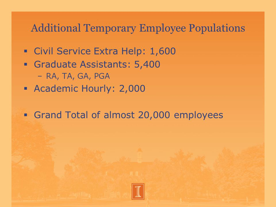 Additional Temporary Employee Populations  Civil Service Extra Help: 1,600  Graduate Assistants: 5,400 –RA, TA, GA, PGA  Academic Hourly: 2,000  Grand Total of almost 20,000 employees