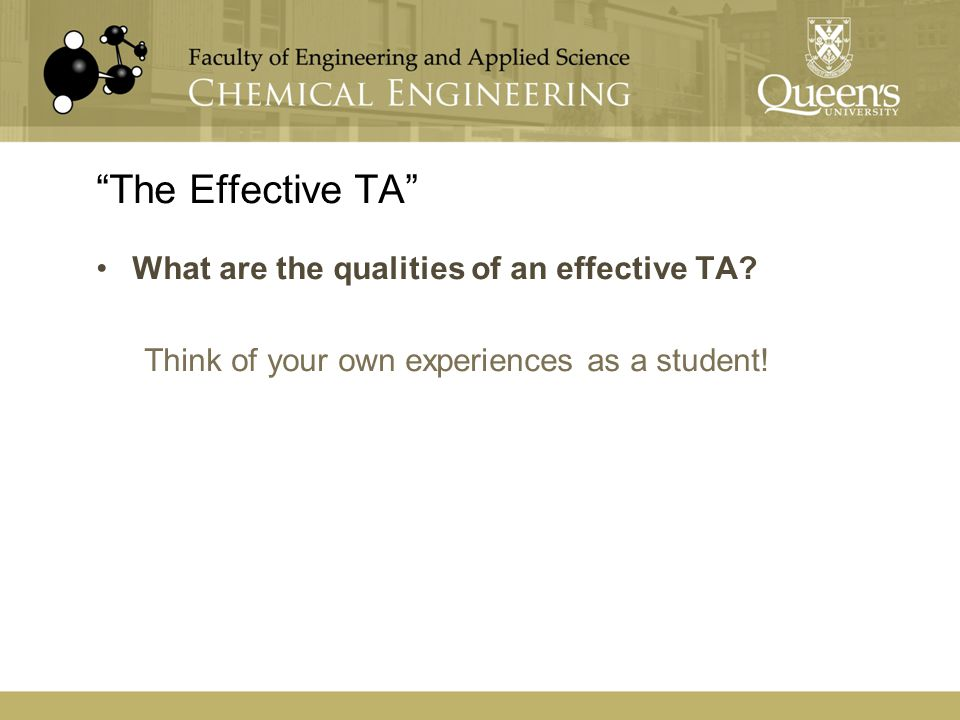 """The Effective TA"" What are the qualities of an effective TA? Think of your own experiences as a student!"