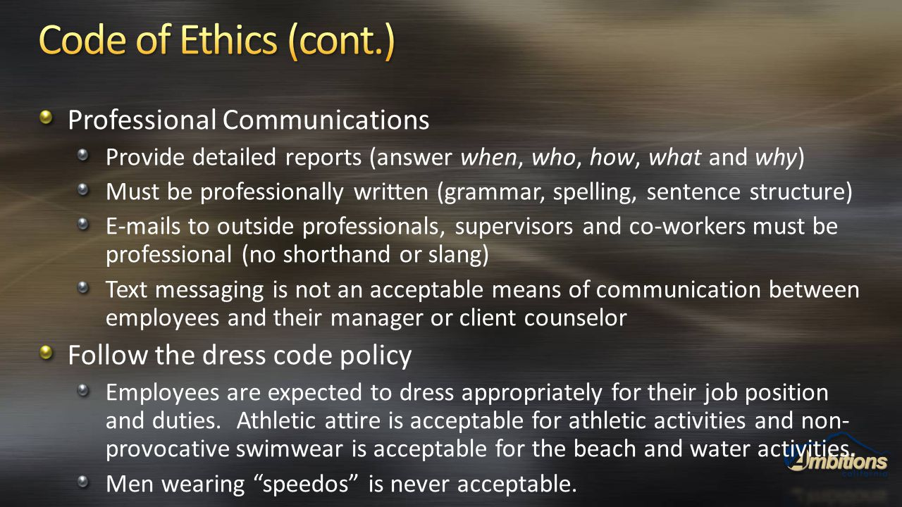 Professional Communications Provide detailed reports (answer when, who, how, what and why) Must be professionally written (grammar, spelling, sentence