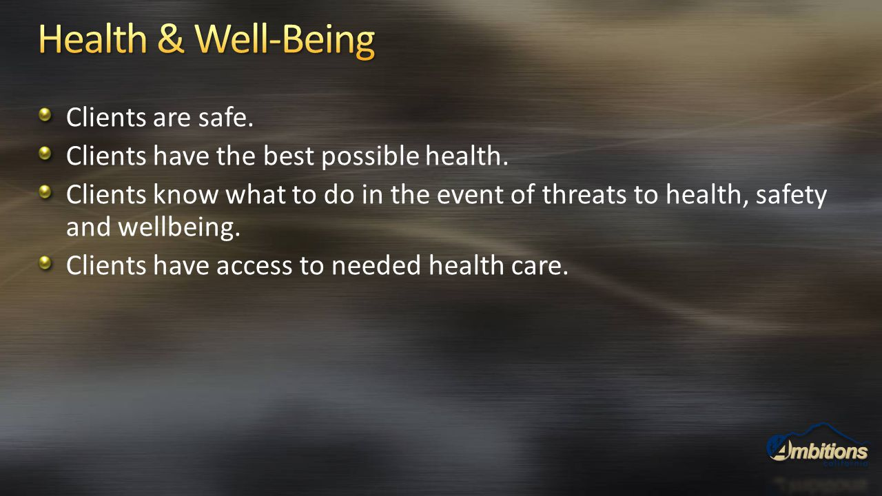 Clients are safe. Clients have the best possible health. Clients know what to do in the event of threats to health, safety and wellbeing. Clients have